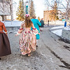 "Cast members of Theatre UAF's production of ""Tartuffe"" walk across campus before performing a live teaser in Wood Center a couple of days before opening night.  <div class=""ss-paypal-button"">Filename: AAR-14-4121-23.jpg</div><div class=""ss-paypal-button-end"" style=""""></div>"