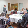 "Associate Professor Mike Davis, standing, with UAF's Alaska Native Studies and Rural Development program, leads a morning discussion with a group of students from rural Alaska in a weeklong seminar on Understanding the Legislative Process in the state capital of Juneau.  <div class=""ss-paypal-button"">Filename: AAR-14-4054-3.jpg</div><div class=""ss-paypal-button-end"" style=""""></div>"