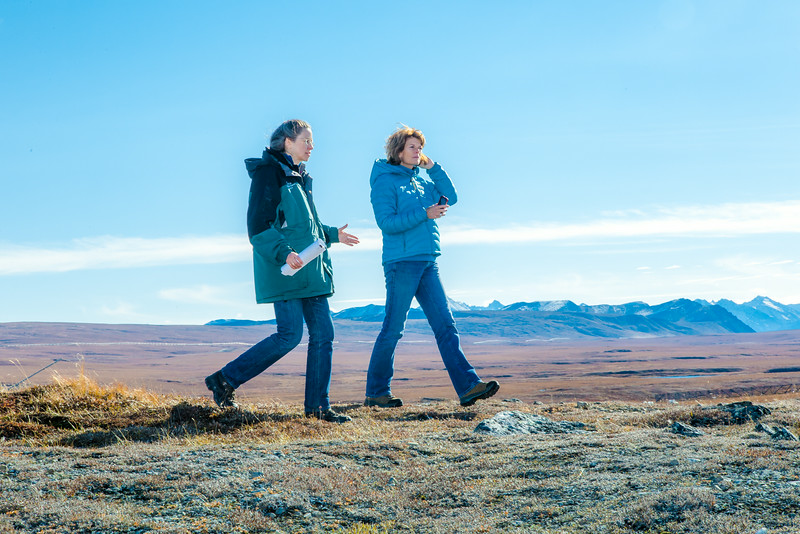 "Donie Bret-Harte, associate science director at UAF's Toolik Field Station, explains some of the research efforts underway near the arctic facility with U.S. Senator Lisa Murkowski during a brief tour in Sept. 2013.  <div class=""ss-paypal-button"">Filename: AAR-13-3929-361.jpg</div><div class=""ss-paypal-button-end""></div>"