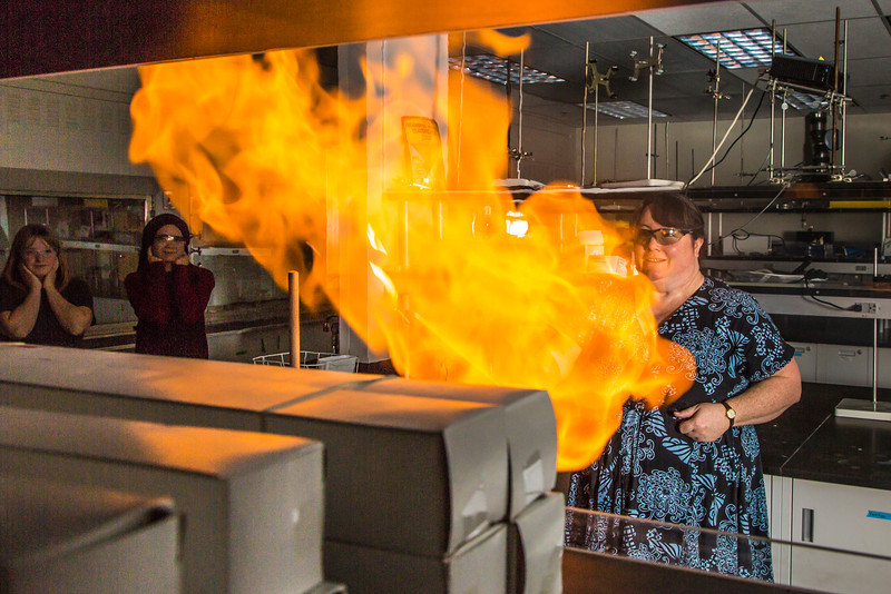 "UAF chemistry professor Cathy Cahill seems to enjoy blowing up balloons filled with hydrogen during a demonstration for her students in a Reichardt Building lab.  <div class=""ss-paypal-button"">Filename: AAR-13-4021-5.jpg</div><div class=""ss-paypal-button-end"" style=""""></div>"