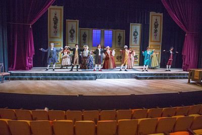 Cast members from Theatre UAF's spring 2014 production of Tartuffe display their costumes.  Filename: AAR-14-4134-164.jpg