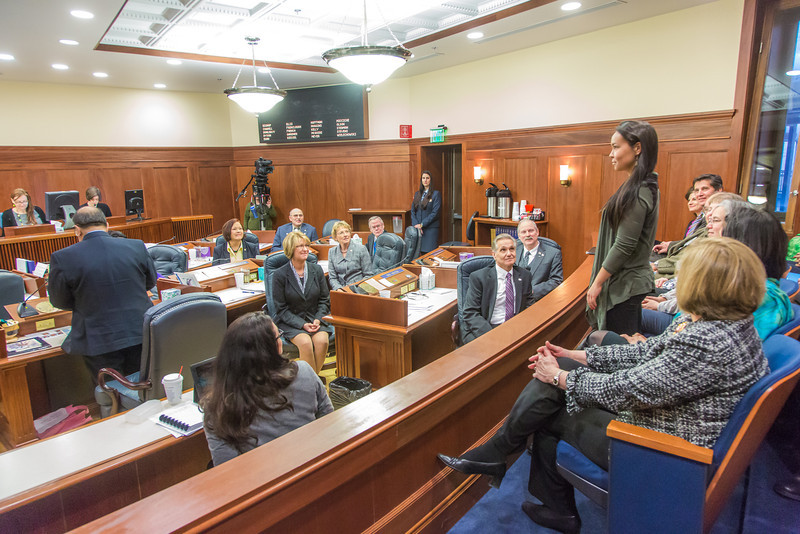 """Kelsey Wallace, a senior rural development major from Bethel, was among a group of students from rural Alaska attending a weeklong seminar on Understanding the Legislative Process in Juneau. She was formally introduced on the floor of the Alaska State Senate.  <div class=""""ss-paypal-button"""">Filename: AAR-14-4054-190.jpg</div><div class=""""ss-paypal-button-end"""" style=""""""""></div>"""