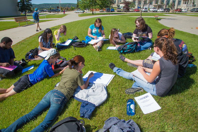 """Students study for their summer sessions biology course in the grass outside the Bunnell Buildng on a nice July afternoon.  <div class=""""ss-paypal-button"""">Filename: AAR-12-3465-2.jpg</div><div class=""""ss-paypal-button-end"""" style=""""""""></div>"""
