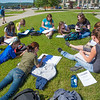 "Students study for their summer sessions biology course in the grass outside the Bunnell Buildng on a nice July afternoon.  <div class=""ss-paypal-button"">Filename: AAR-12-3465-2.jpg</div><div class=""ss-paypal-button-end"" style=""""></div>"