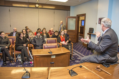 Professor Mike Davis and his students in RD 492 - Understanding the Legislative Process, meet with Sen. Gary Stevens, (R, Kodiak) in a legislative conference room during their week-long seminar in Juneau.  Filename: AAR-13-3714-79.jpg