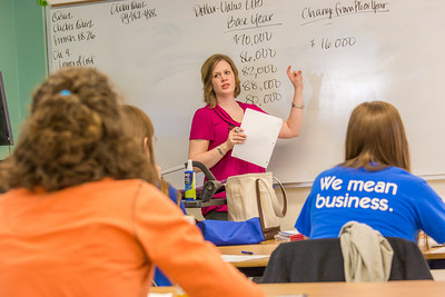 Amy Cooper lectures to her intermediate accounting students in a Duckering Building classroom.  Filename: AAR-14-4112-36.jpg
