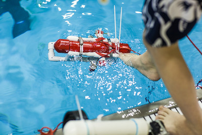 Middle school students try out their recently built remotely operated vehicles inside the Hamme Pool as part of the Alaska Summer Research Academy.'  Filename: AAR-13-3861-51.jpg
