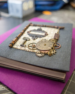 This is one of the completed projects in a custom book binding workshop offered by UAF Summer Sessions during Wintermester 2013.  Filename: AAR-13-3706-65.jpg