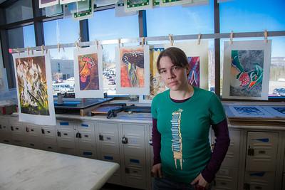 Senior foreign languages major Lindsey Miller spent lots of time in the printmaking studio in the UAF Fine Arts Complex.  Filename: AAR-12-3353-45.jpg