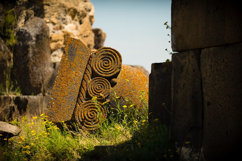 Toppled column head in the Basilica. Ani, Eastern Turkey.