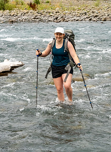 Molly crossing the Queets River, Olympic National Park
