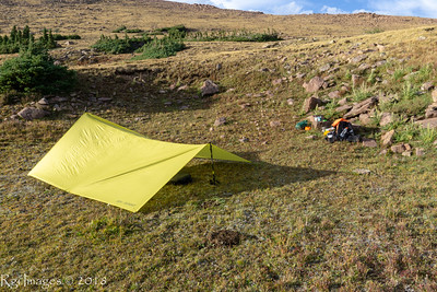 Night 2 camp at Wilde Lake. Tarp pitched for shelter from the wind.