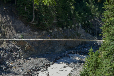 Mary on the Tahoma Creek suspension bridge.