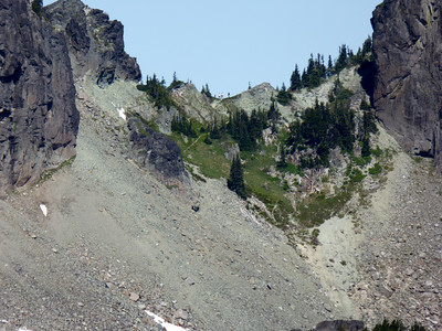 Hikers at Knapsack Pass from Seattle Park.