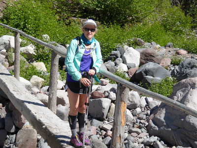 Mary on bridge over Winthrop Creek.