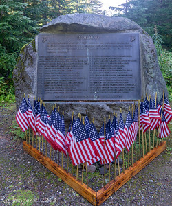Memorials to the Marines who crashed and died on the South Tahoma glacier in 1946