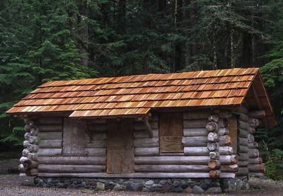 The Ipsut Creek Patrol Cabin reassembled.