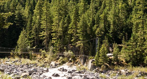 Suspension bridge over the Carbon River