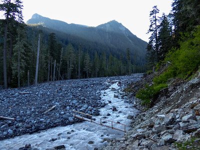 Morning light at the Lower Crossing of the Carbon River.