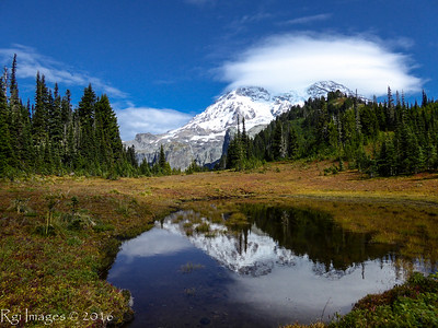 The Mountain reflected in a tarn just below Klapatche Park