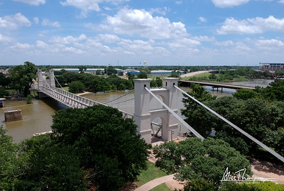 Waco Suspension Bridge (aerial view) - Waco, TX