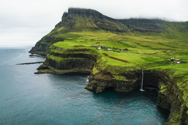 Gásadalur, Faroe Islands and Múlafossur falls