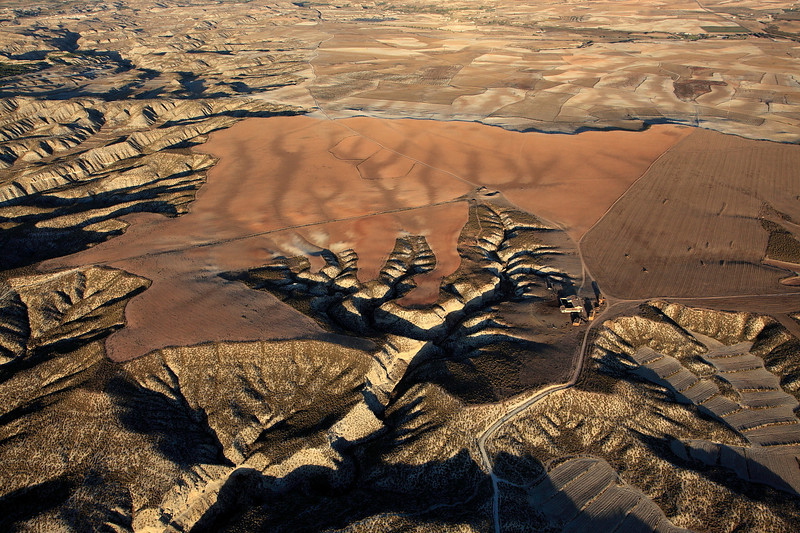 Eroded river forms, cut in to the desert landscape in the Altiplano of Baza.Granada.Spain.