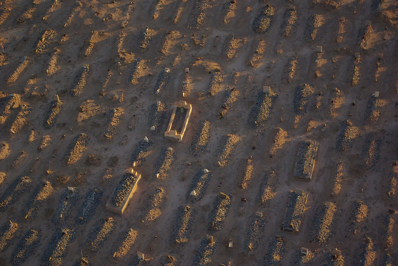Lines of Berber graves in Southern Morocco.