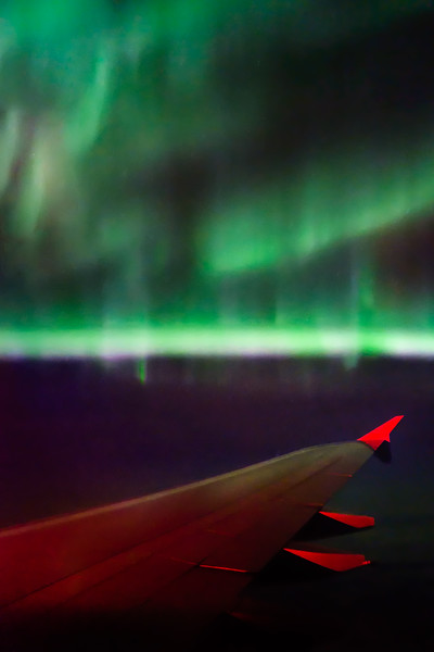 Aurora borealis from the Airbus A380