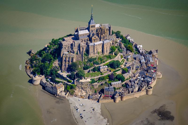 Mont Saint-Michel, France aerial