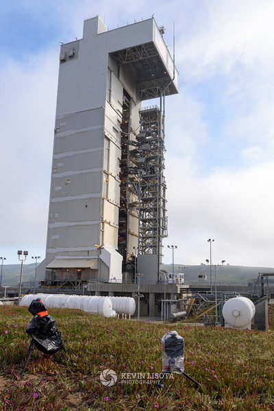 Atlas V rocket awaits launch of Mars InSight inside servicing tower