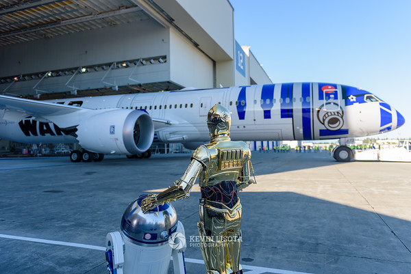 R2-D2 & C-3PO admire theR2-D2 Dreamliner 787-9