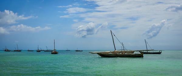 Dhow boats at anchor, Zanzibar