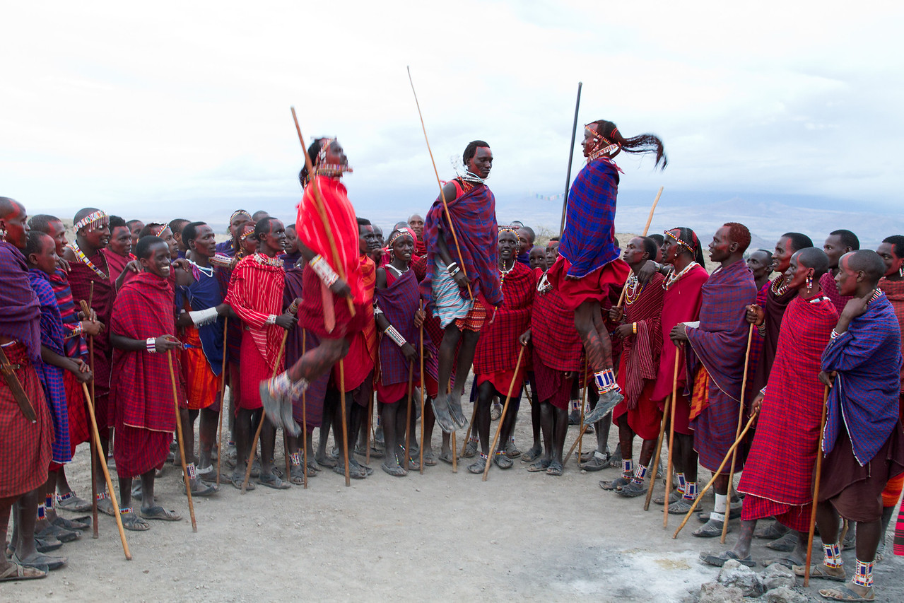 Maasai singing, chanting, and jumping.  They can get rather airborne, it's truly amazing to watch.