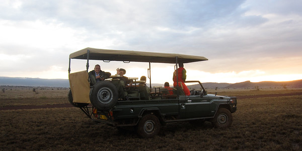 Typical open vehicle for game drives in Lewa.
