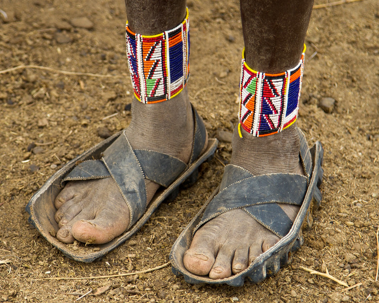 Shoes are made from old tires.