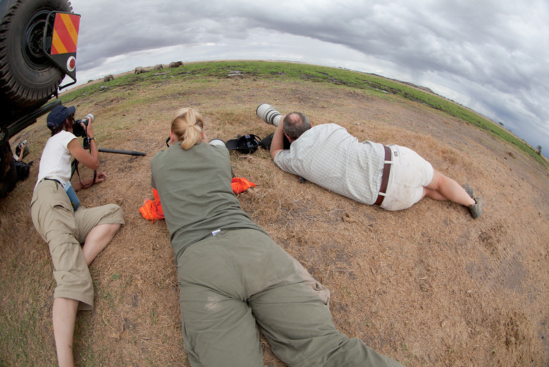 Out of the vehicles, down low, shooting eles in Amboselli.