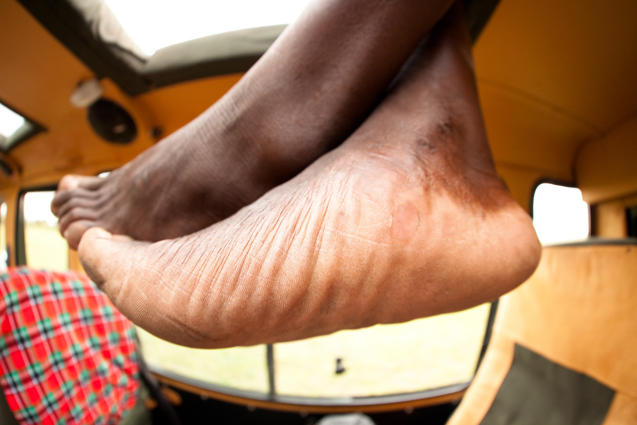 Maasai feet from the roof.