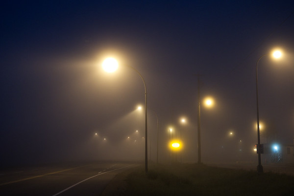 Early morning fog at the Fort Nelson weigh scales. A once bustling place with heavy haul traffic.