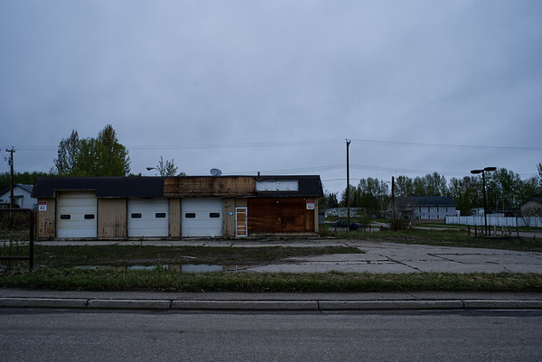 Abandoned gas station in Fort Nelson