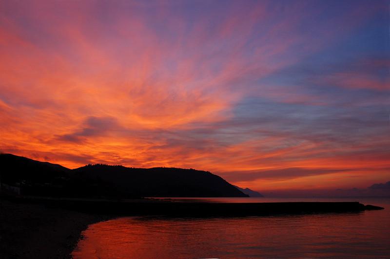 Mount Athos peninsula in sunrise..