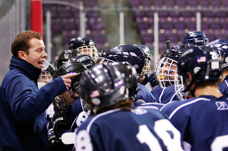 The Air Academy Kadets defeated the Cheyenne Mountain Indians 4-2 in boys' hockey action on Tuesday, December 5, 2014 at The Broadmoor World Arena. Photo by Isaiah J. Downing