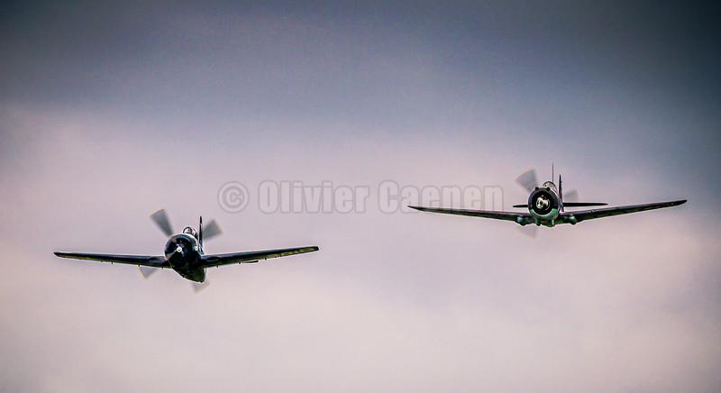 Curtiss-Wright Hawk 75 (G-CCVH) and Grumman Bearcat F8F (G-RUMM) © 2019 Olivier Caenen, tous droits reserves