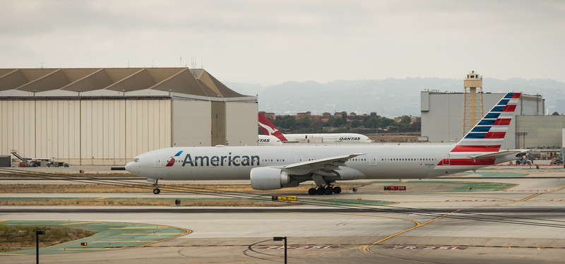American Airliner on runway at LAX in May 2014