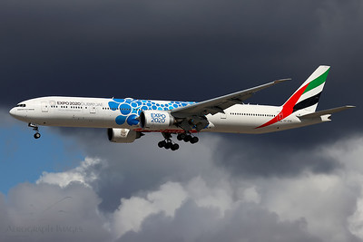 "Reg: A6-EPB Operator: Emirates Airline Type: Boeing 777-31hER		    C/n: 42340 / 1441  Location: Manchester (MAN / EGCC) - UK   ""EK17""landing 23R against a backdrop of very changeable weather, wearing the EXPO 2020 ""mobility"" special colours      Photo Date: 02 August 2020 Photo ID: 20...."