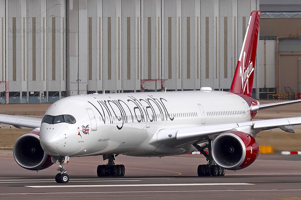 """Reg: G-VLUX Operator: Virgin Atlantic Airways Type: Airbus A350-1041  C/n: 274  Location: London - Heathrow (LHR / EGLL) - UK   """"Red Velvet"""" lining up on 27L on a cloudy morning     Photo Date: 21 August 2020 Photo ID: 20...."""