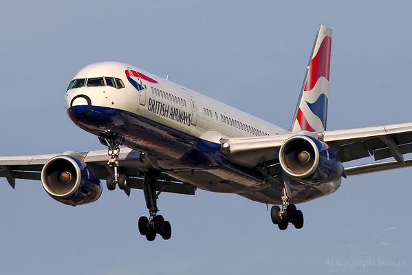 Reg: G-BPEJ Operator: British Airways Type: Boeing 757-236  C/n: 25807/610  Location: London - Heathrow (LHR / EGLL) - UK   Shuttle service on short finals to runway 27L at home base     Photo Date: 05 April 2007 Photo ID: 20....