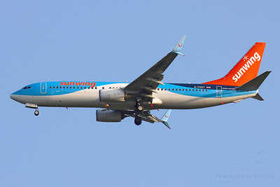 Reg: G-FDZY Operator: TUI Airways Type: Boeing 737-8K5/W		    C/n: 37261 / 3844  Location: Manchester (MAN / EGCC) - UK   Still in hybrid Sunwing colours after last winter's lease, this TUI 737 is seen on approach to runway 05L on an early autumn evening     Photo Date: 20 September 2020 Photo ID: 20....