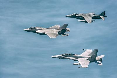 F-35 Lightning, F-18 Hornet &  AV-8B Harrier