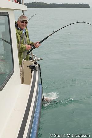 Darrell on a halibut.